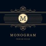 Éléments de conception de monogramme, calibre gracieux Élégant conception de logo de schéma Signe d'affaires, identité pour le re Images stock