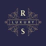 Éléments de conception de monogramme, calibre gracieux Élégant conception de logo de schéma Signe d'affaires, identité pour le re Photo stock