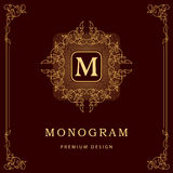 Éléments de conception de monogramme, calibre gracieux Élégant conception de logo de schéma Signe d'affaires, identité pour le re Image libre de droits
