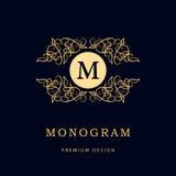 Éléments de conception de monogramme, calibre gracieux Élégant conception de logo de schéma Signe d'affaires, identité pour le re Photos libres de droits