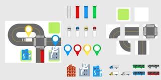 Éléments de conception de paysage urbain avec la route, transport, bâtiments, goupilles de navigation Illustration ENV 10 de vect Photo libre de droits