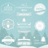 Éléments de conception de vecteur de décorations de Noël Éléments, symboles, icônes, labels de vintage, insignes, ornements et ru Image stock