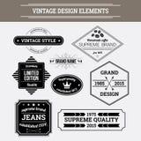 Éléments de conception de vecteur de vintage Labels typographiques de rétro style Photos stock