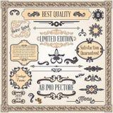 Éléments de conception et décoration calligraphiques de page Photos stock