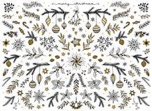 Éléments de conception florale pour Noël, avec la feuille d'or illustration stock