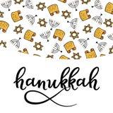 Éléments de conception de Hanoucca dans le style de griffonnage Attributs traditionnels du menorah, Torah, étoile de David Lettra illustration stock