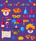 Éléments de conception de Purim Vacances juives Ensemble de vecteur illustration libre de droits