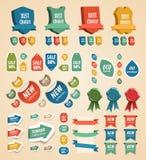 Éléments de cru de conception : étiquettes, collants, bandes. illustration de vecteur