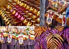 Éléments de culture indonésienne Couleur pourpre rose collage Photo libre de droits