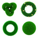 Éléments de décor d'herbe verte Photo stock