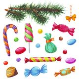 Éléments de décoration de Noël et d'an neuf Photos stock