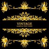 Éléments de décorations de vintage d'or de couleur Ornements et cadres calligraphiques de Flourishes Rétro type Photographie stock