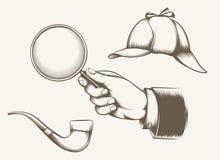 Éléments de détective de vintage illustration stock