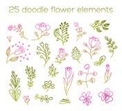 Éléments 25 de fleur de griffonnage Rose floral et vert mignons Photo libre de droits