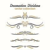 Éléments de Flourish Diviseurs tirés par la main réglés Élément décoratif ornemental Conception fleurie de vecteur Photos stock