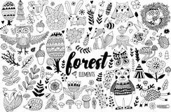 Éléments de forêt de vecteur dans le style puéril de griffonnage Photographie stock