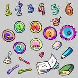 Éléments de fournitures scolaires Photo stock
