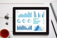 Éléments de graphiques et de diagrammes sur l'écran de comprimé Image stock