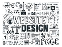 Éléments de griffonnage de conception de site Web Photos stock