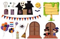 Éléments de Halloween avec la maison et les enfants hantés illustration de vecteur