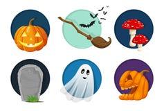 Éléments de Halloween, objets et ensemble d'icône Illustration mignonne de vecteur illustration stock
