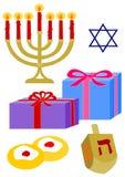 Éléments de Hanukkah illustration stock