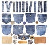 Éléments de jeans d'isolement sur le blanc Photos libres de droits
