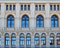 Éléments de la façade du théâtre russe Chekhova à Riga Image libre de droits