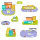 Éléments de la ville Stationnement, plaza, bâtiments Photos stock