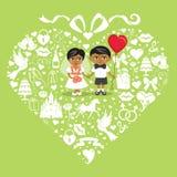 Éléments de mariage en composition en coeurs avec la jeune mariée et le groo de bébé illustration stock