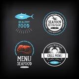 Éléments de menu de fruits de mer et de conception d'insignes Vecteur avec le graphique Images stock
