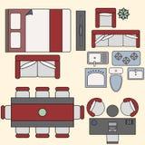 Éléments de meubles dans la vue supérieure Photo stock