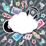 Éléments de musique avec la bulle de la parole Photo libre de droits