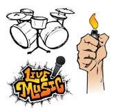 Éléments de musique en direct Image stock