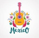 Éléments de musique et de nourriture du Mexique Photos stock