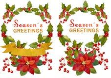 Éléments de Noël d'aquarelle Photos stock