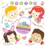 Éléments de Pâques avec des gosses Photo stock