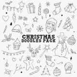 Éléments de paquet de croquis de griffonnages de Noël illustration de vecteur