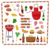 Éléments de partie de BBQ d'isolement sur le fond blanc Produits BBQ, bifteck, chair de poissons, boeuf, légumes, herbes, aliment illustration stock