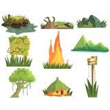 Éléments de paysage de jungle illustration de vecteur