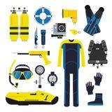 Éléments de plongeur et d'ensemble pour le sport sous-marin Illustrations de la plongée dans le style plat illustration stock