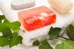 Éléments de rose et de bain de savon Photos stock