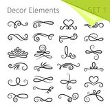 Éléments de rouleau de calligraphie Le rétro flourish décoratif a tourbillonné des éléments de vecteur pour des lettres, décors d illustration de vecteur