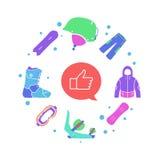 Éléments de sport d'hiver créatif de snowboarding et outils infographic et plats de casque, de masque, de veste, de botte, de pan Photos stock