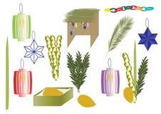 Éléments de Sukkot - éléments traditionnels juifs de vacances illustration de vecteur