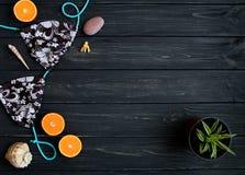 Éléments de vacances : maillot de bain, pierres, coquillages, fruits Photo de voyage, configuration plate, vue supérieure Image stock
