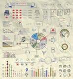 Éléments de vecteur d'Infographics sur le papier chiffonné Images libres de droits