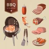 Éléments de vecteur de viande de BBQ pour le barbecue de vintage illustration libre de droits