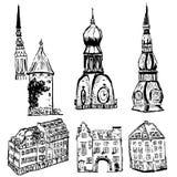 Éléments de vecteur de vieille ville européenne illustration libre de droits