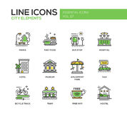 Éléments de ville - ligne icônes de conception réglées illustration libre de droits